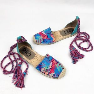SAM EDELMAN Lenora Lace-Up Tropical Floral Flats